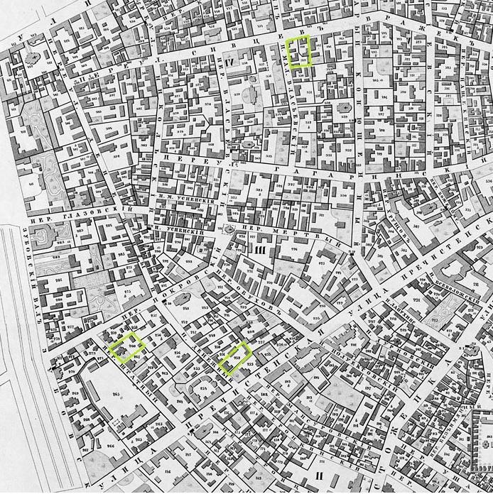 Дома П.А. Кропоткина в Москве, в которых он проживал в разное время. На карте 1852 года.